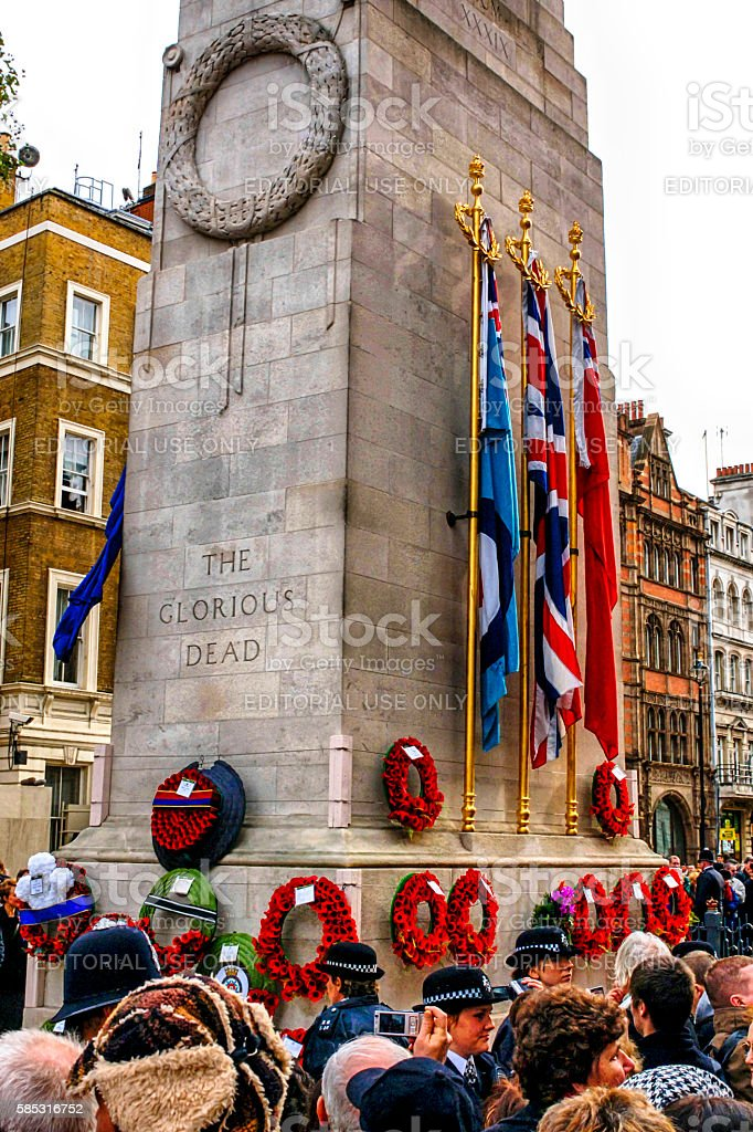 People pay homage at the Cenotaph in London, UK stock photo