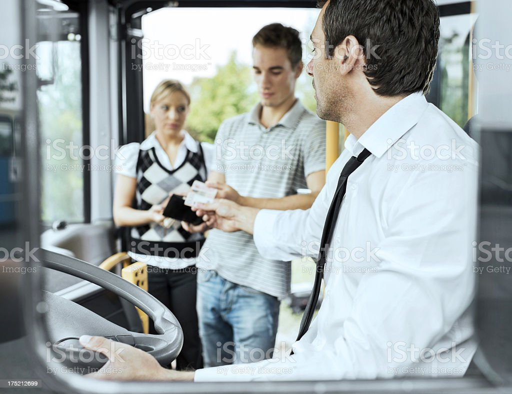 People paying bus fares. royalty-free stock photo