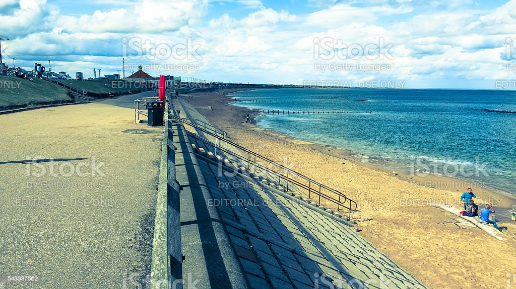 People Picnic at Beach, Aberdeen, UK stock photo