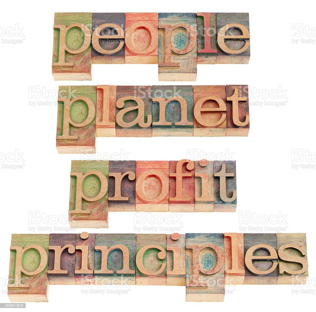 people, planet, profit, principles royalty-free stock photo