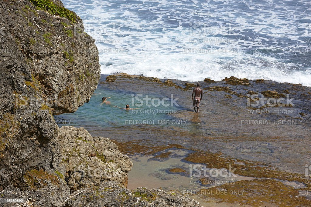 People Play in Tidepools, Barbados, Caribbean royalty-free stock photo