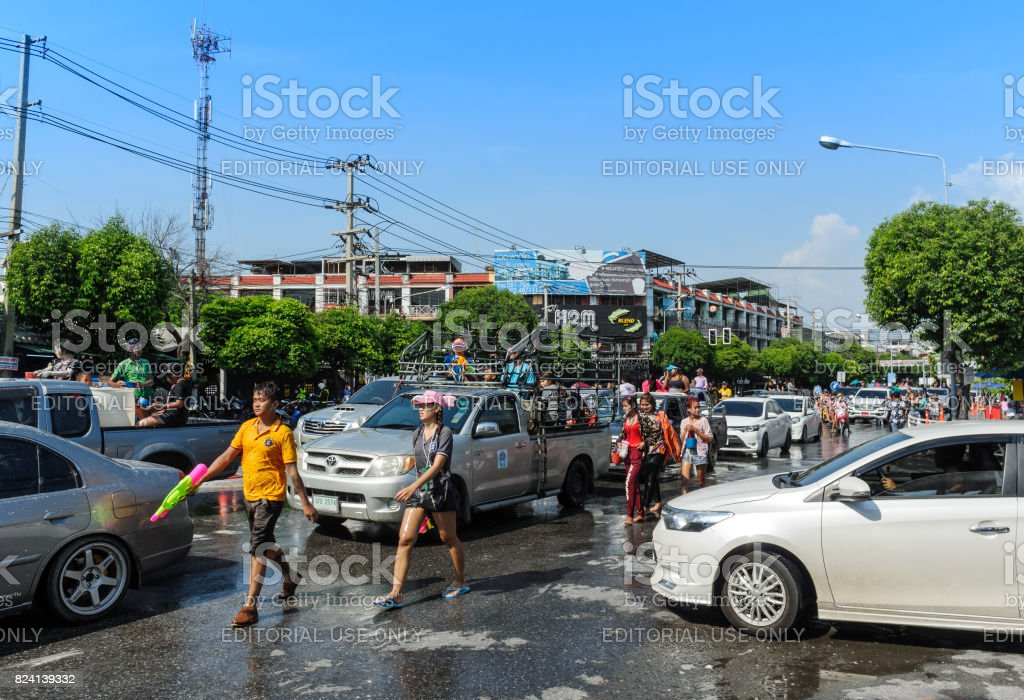 People play power in water festival day (Song Kran day) stock photo