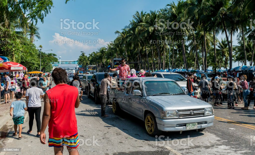 People play water in water festival day (Song Kran day) stock photo