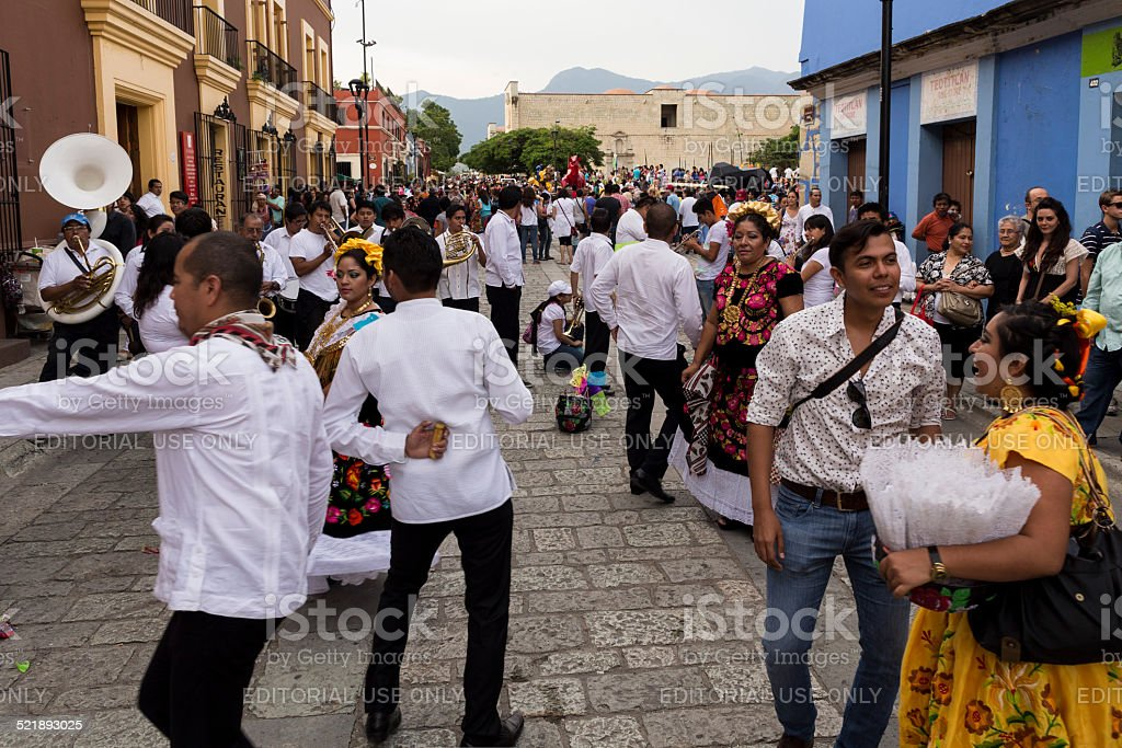 People playing and dancing in Oaxaca's Zocalo, Mexico stock photo