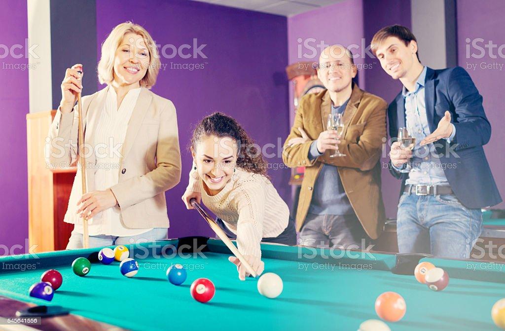 People playing billiard stock photo