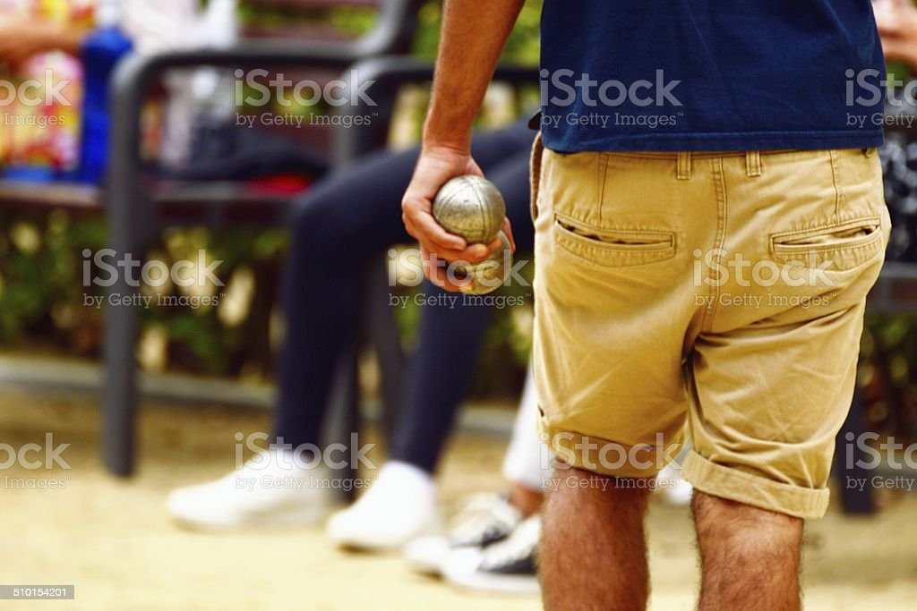 People playing boules stock photo