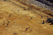 People playing cricket and children flying kite