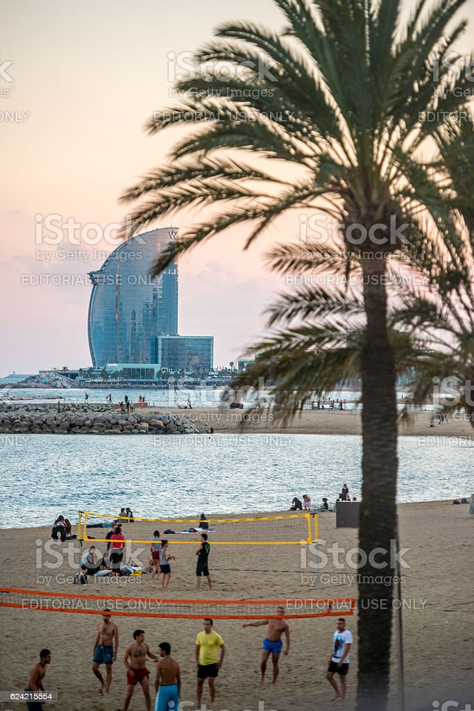 People playing volleyball on the beach, Barcelona, Spain stock photo