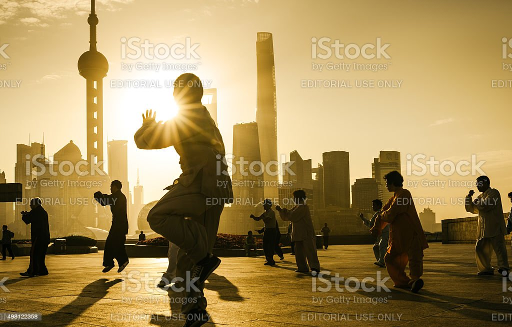 People practice tai chi in the Bund area, Shanghai stock photo