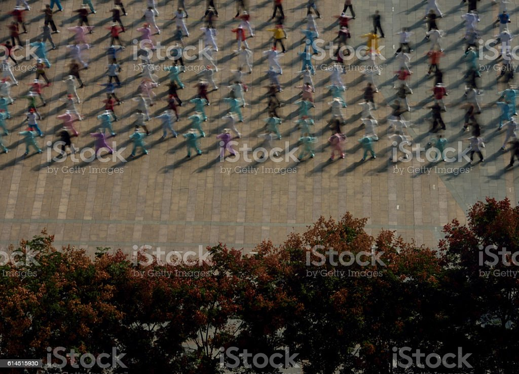 People practicing Tai Chi in China stock photo