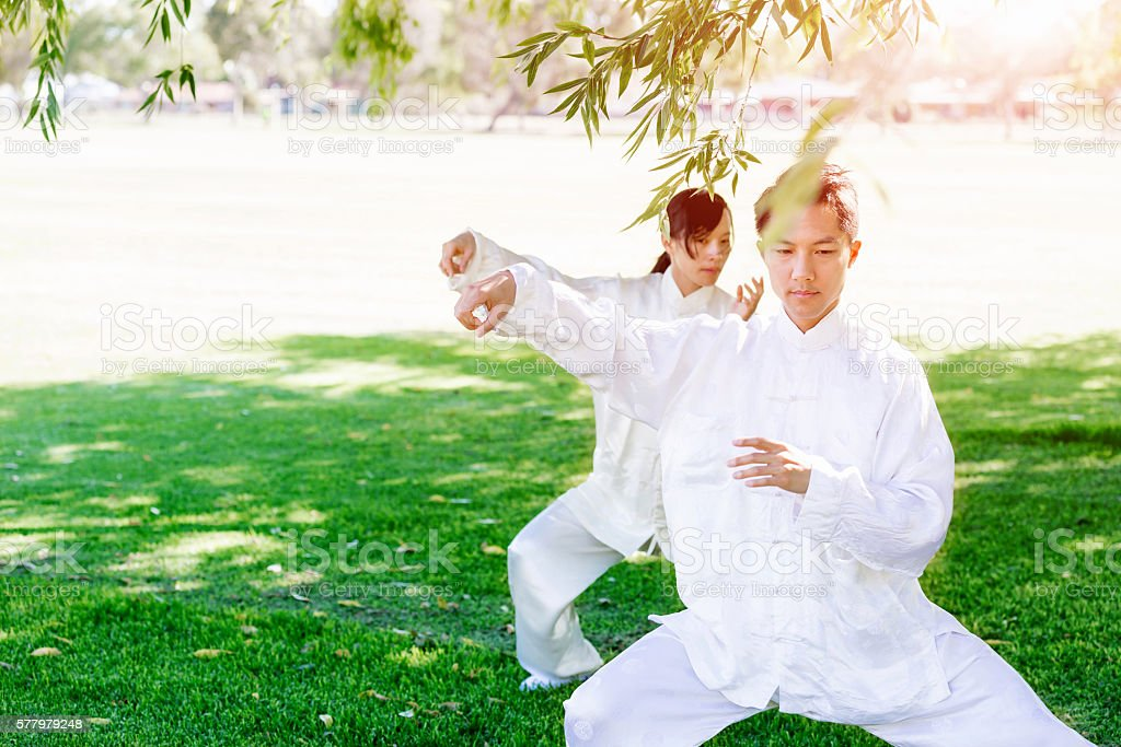 People practicing thai chi in park stock photo