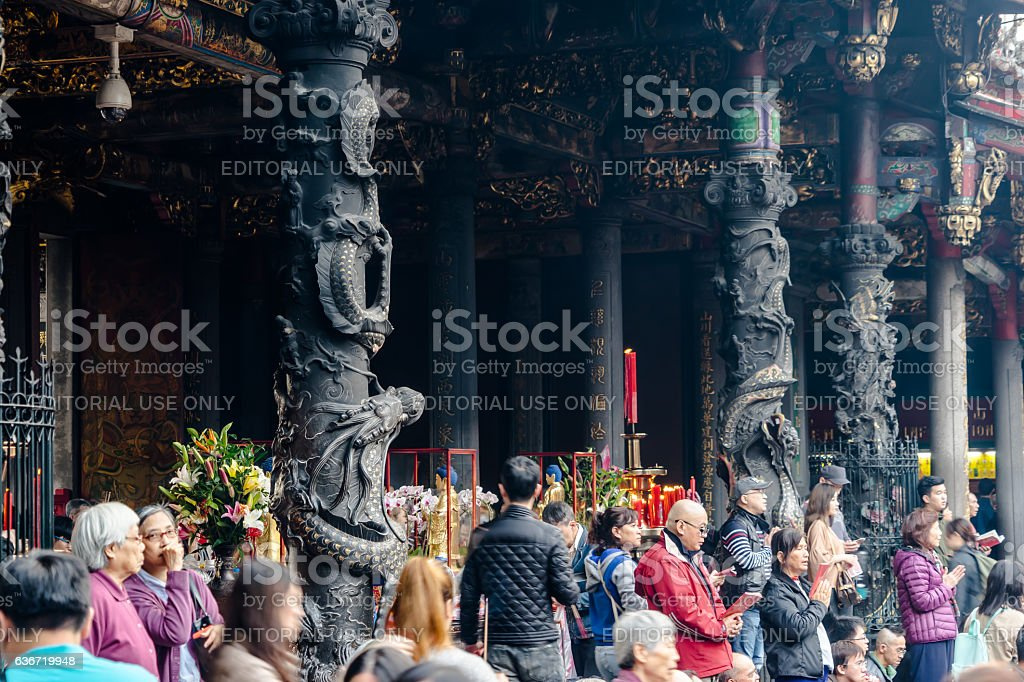 people pray for god in lungshan, Taipei stock photo