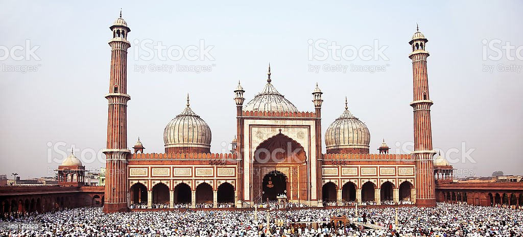 People  praying in Jama Masjid stock photo