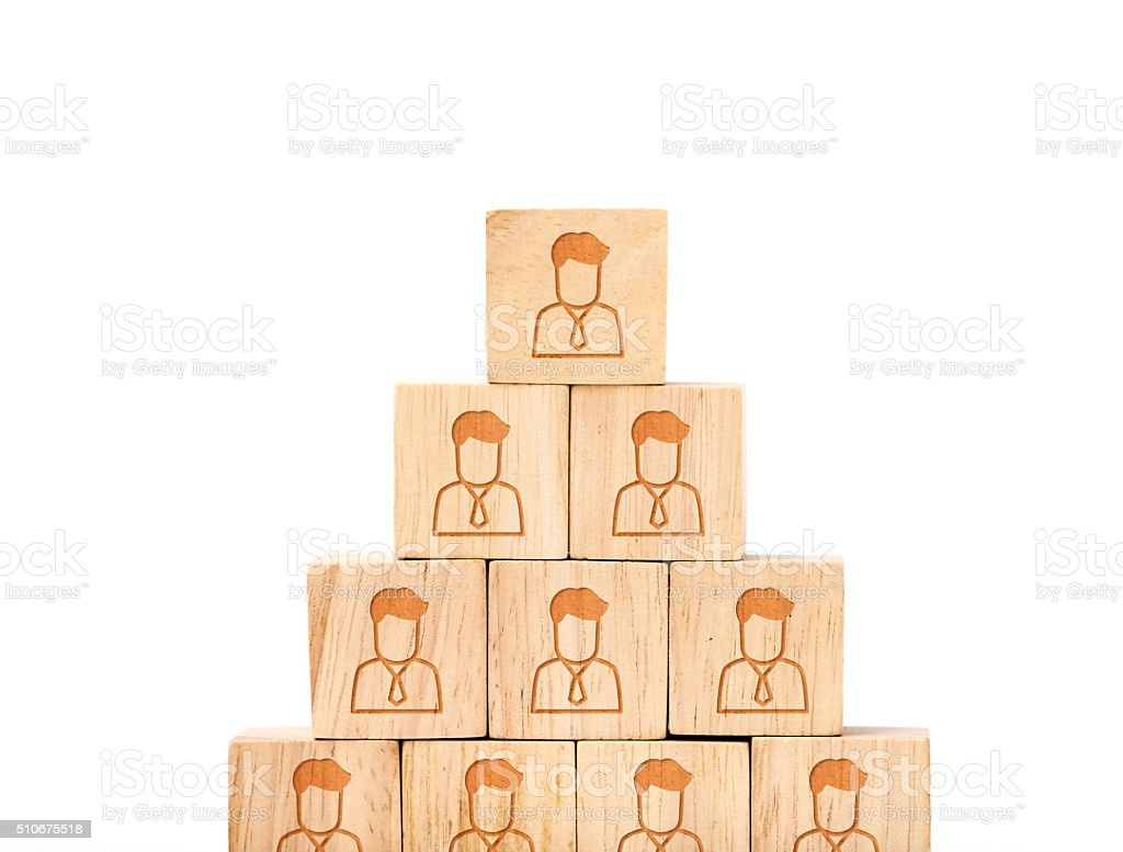 People profile icon on wood cube in pyramid stock photo