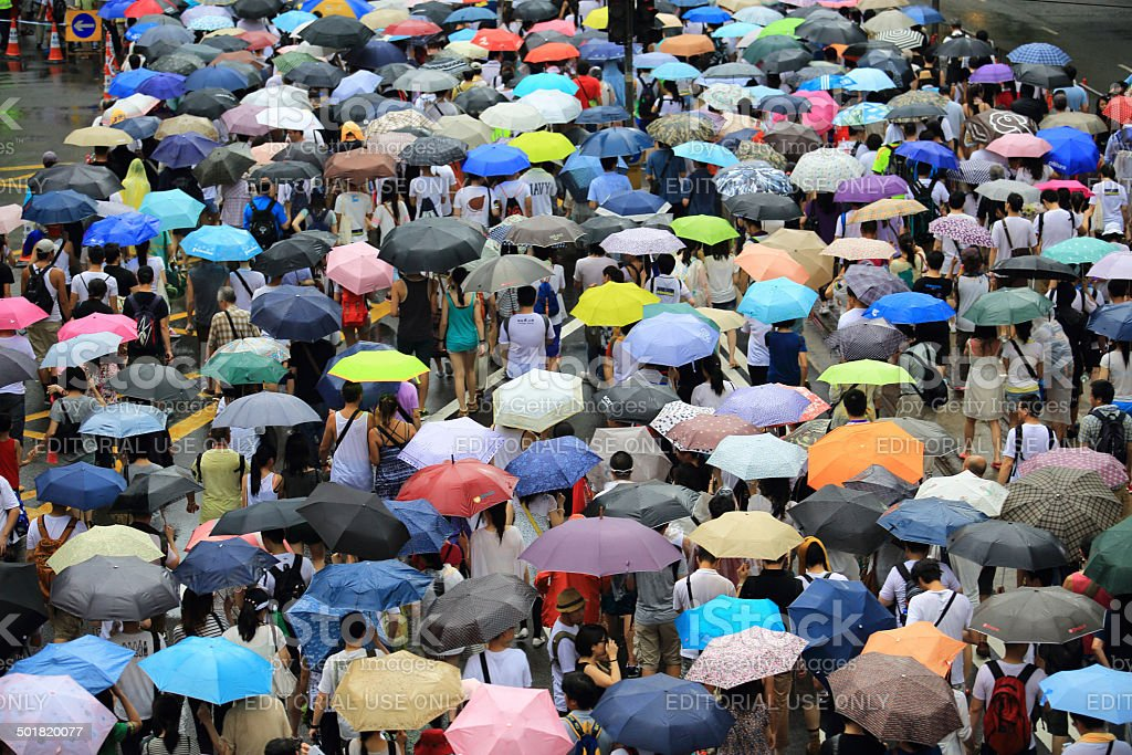 People protest on the street in hong kong July 1 stock photo