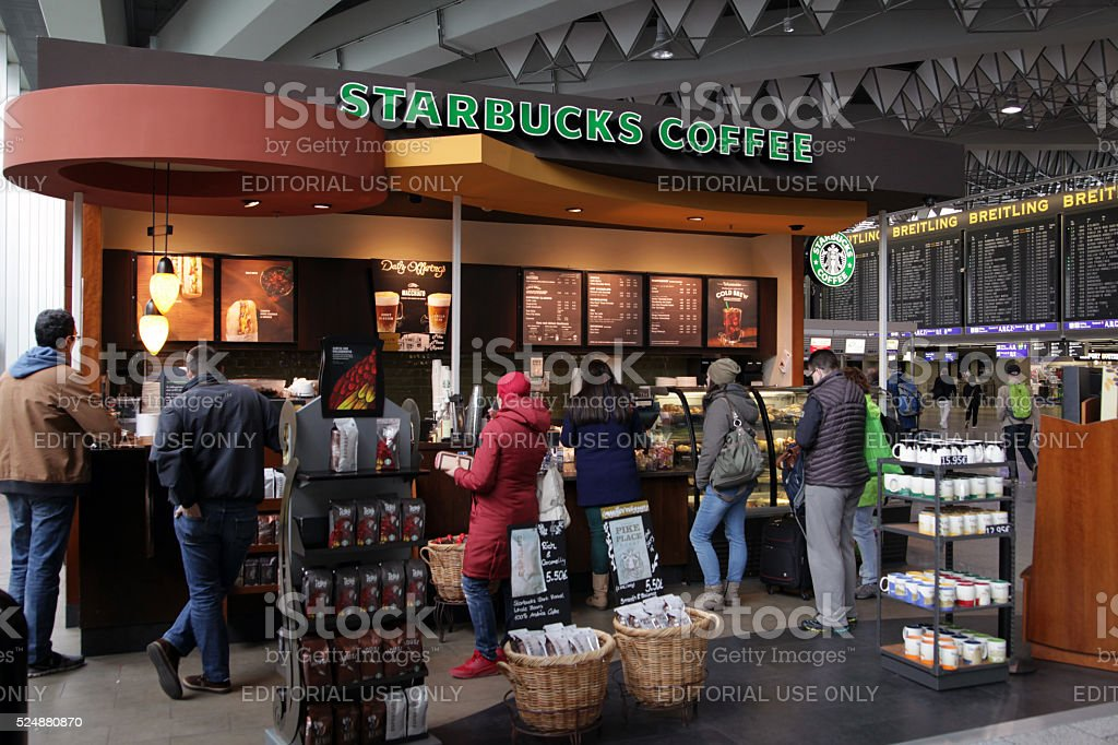 People queing up on coffee and snackbar stock photo