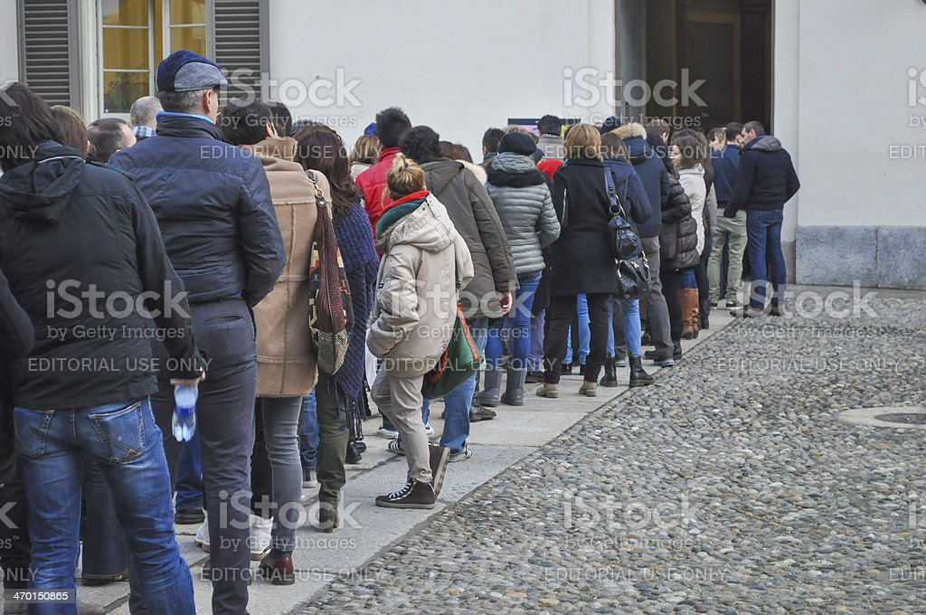 People queueing stock photo