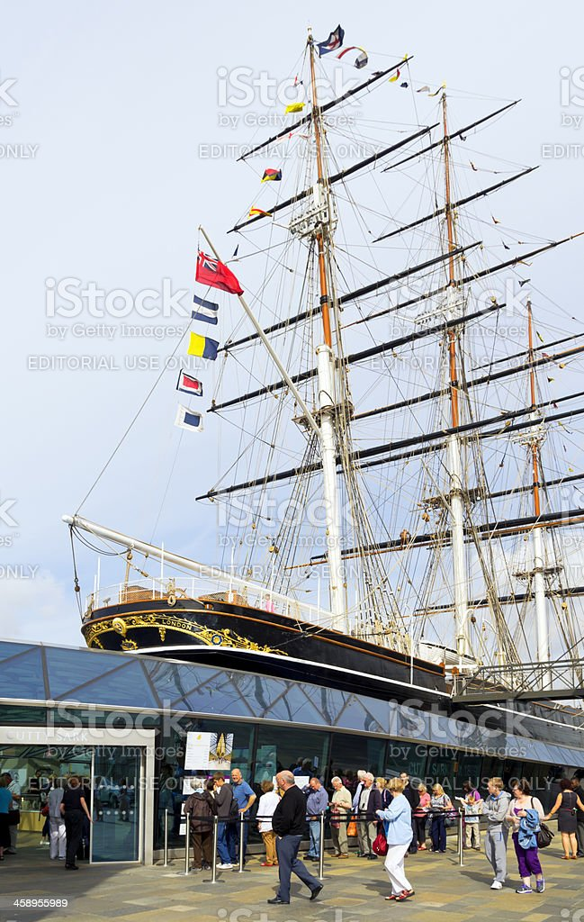 People queuing for the Cutty Sark stock photo