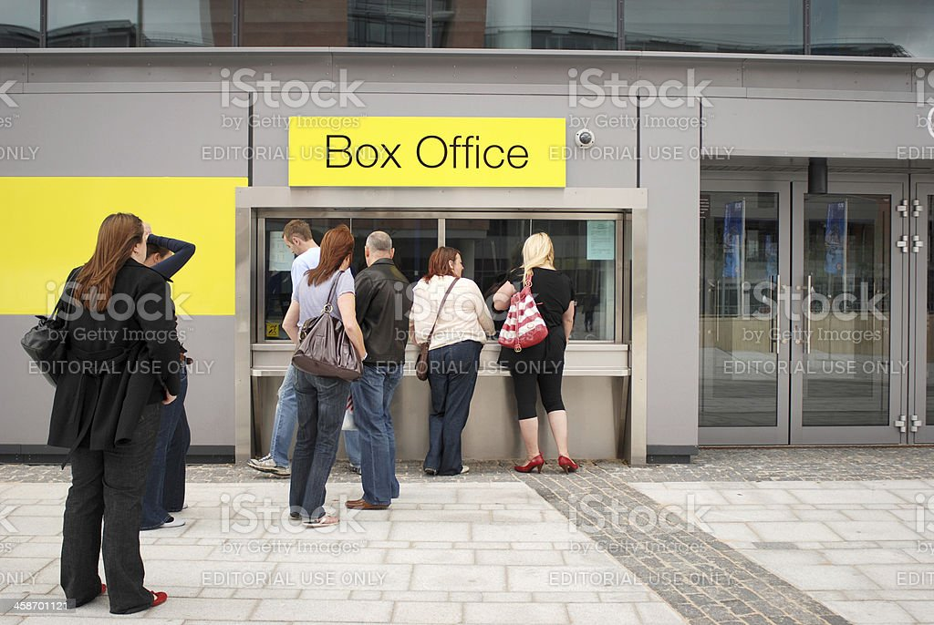 People queuing in front of Liverpool Echo Arena box office stock photo
