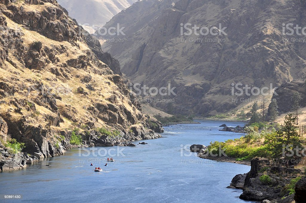 People rafting along Hells Canyon stock photo