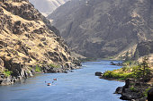 People rafting along Hells Canyon