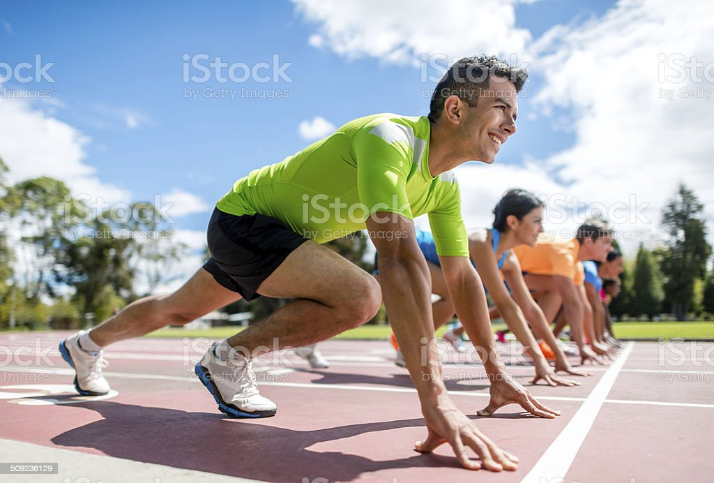 People ready for running stock photo