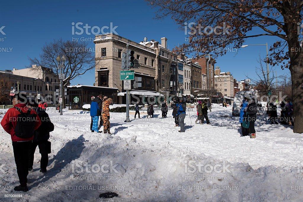People rejoice snow stock photo