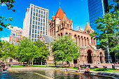 People Relax at Copley Square Fountain in Boston Massachusetts USA