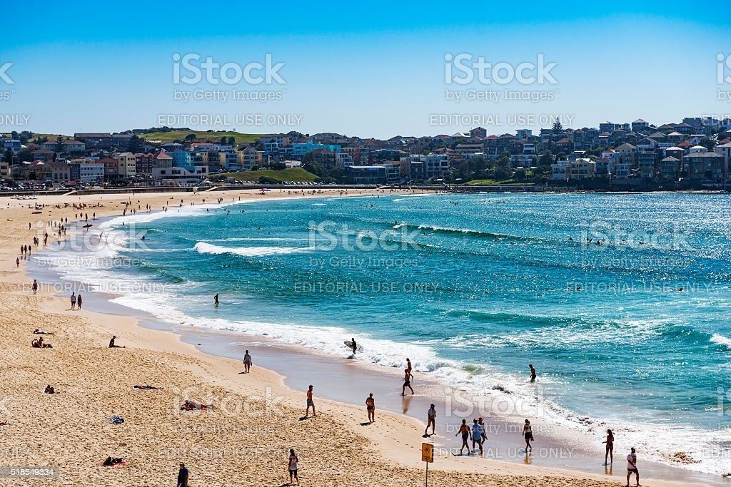 People relaxing at Bondi beach in Sydney, Australia stock photo