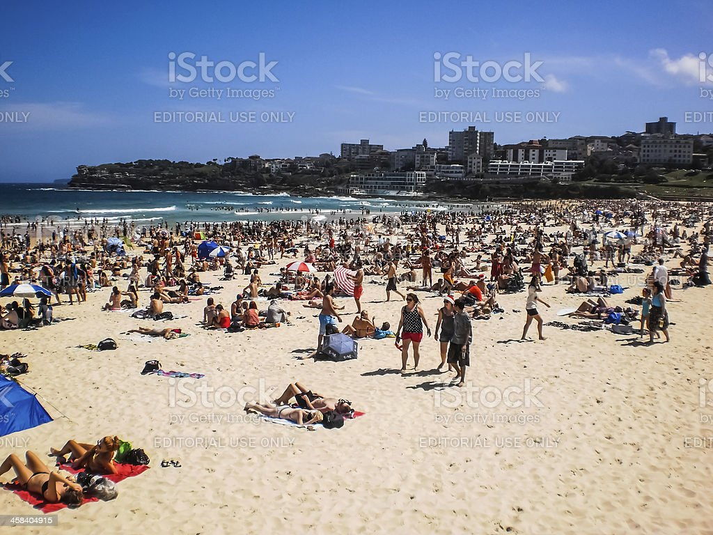 People relaxing at the beach royalty-free stock photo