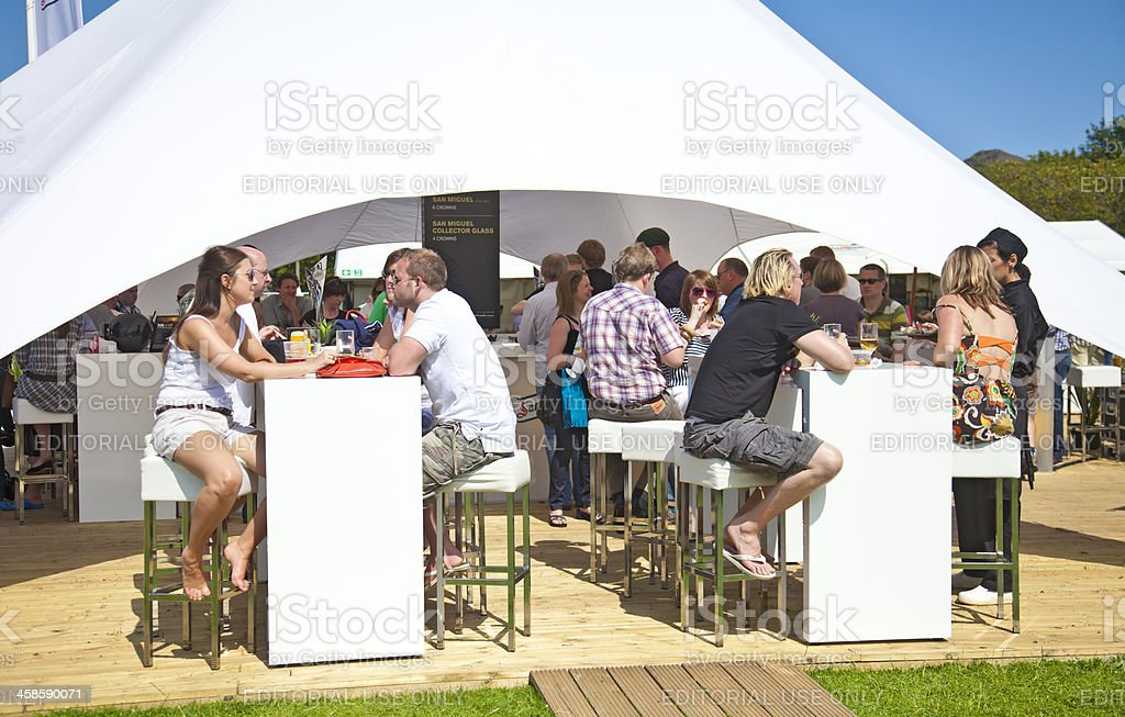 People relaxing, eating,drinking and chatting, Taste of Edinburgh royalty-free stock photo