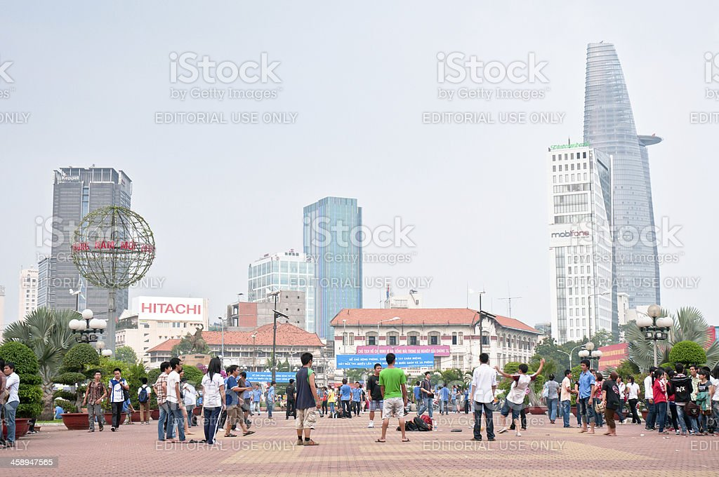 People Relaxing In A City Park stock photo