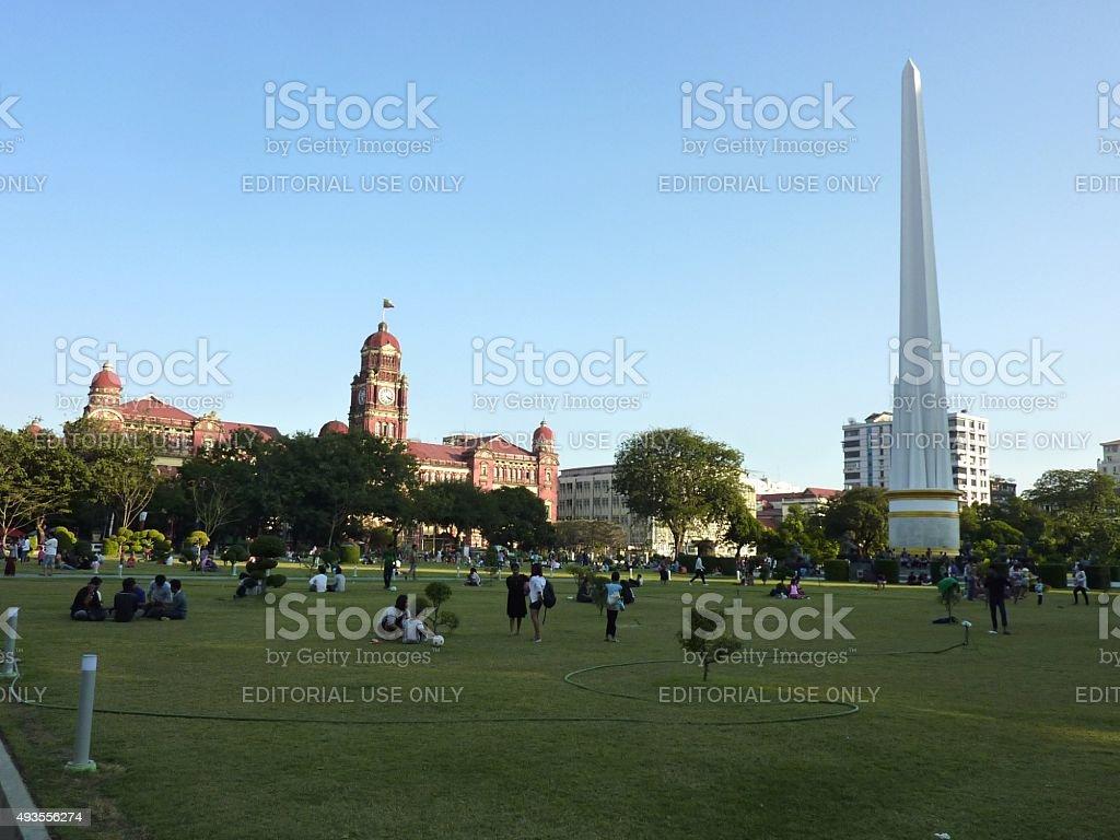 People relaxing in Maha Bandula Park, Yangon stock photo