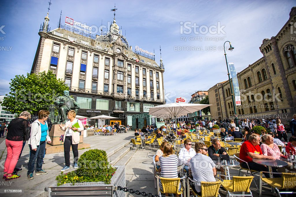People relaxing in Oslo cafe, Norway stock photo