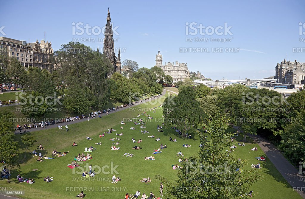 People relaxing in Princes Street Gardens, central Edinburgh. royalty-free stock photo