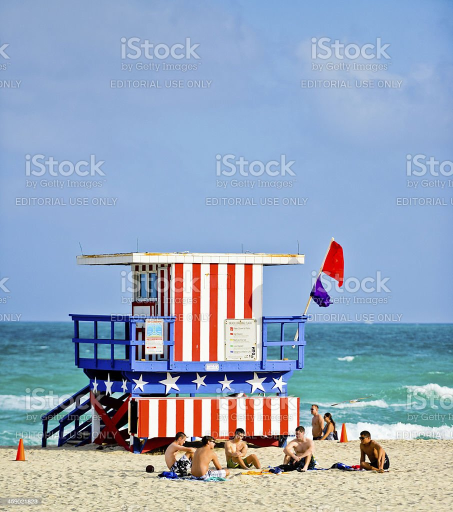 People relaxing on South Beach, Miami, USA royalty-free stock photo