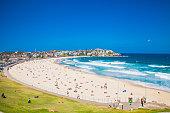 People relaxing on the Bondi beach in Sydney, Australia.
