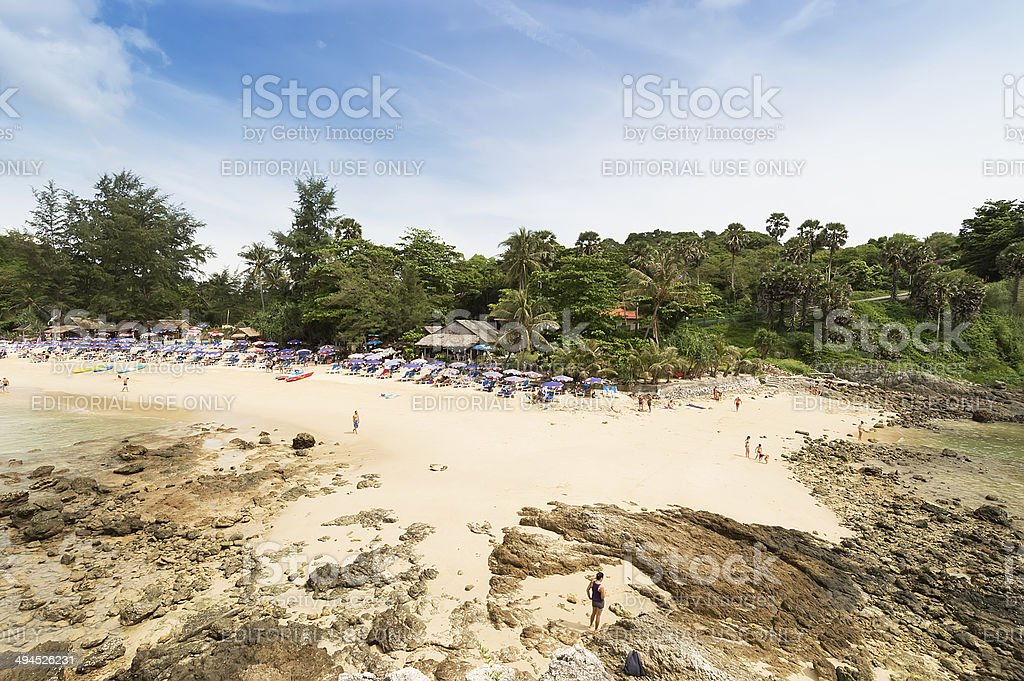 people relaxing on Yanui beach in a hot summer, Phuket stock photo