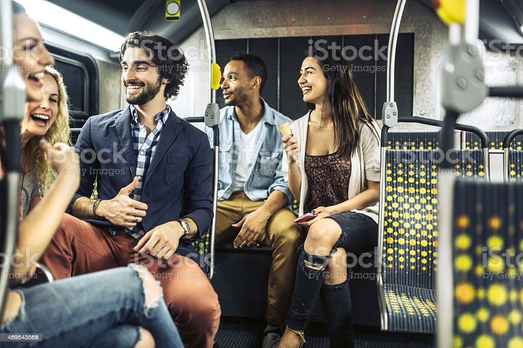 People Riding City Metro Bus stock photo
