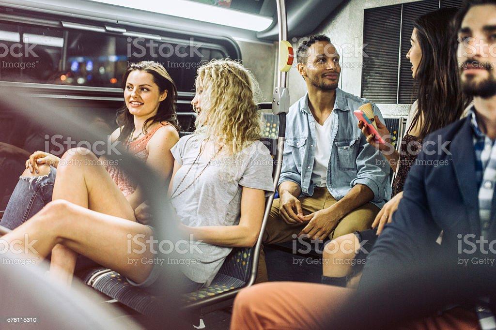 People Riding City Metro Bus stock photo