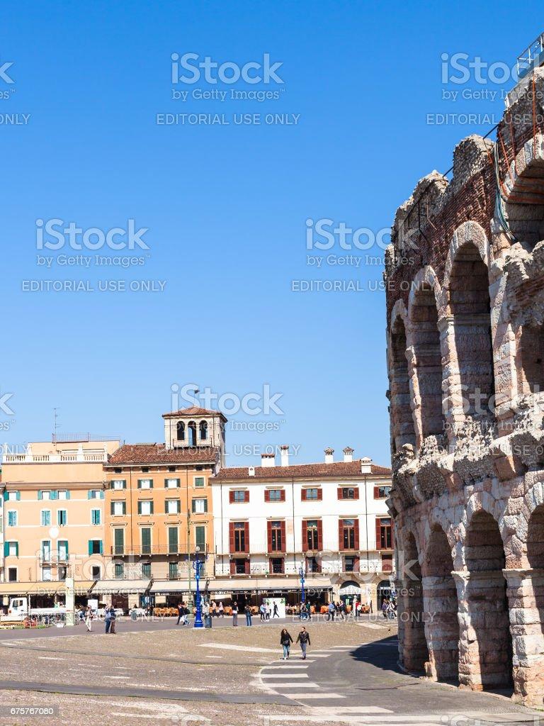 people, roman Arena on Piazza Bra in Verona stock photo