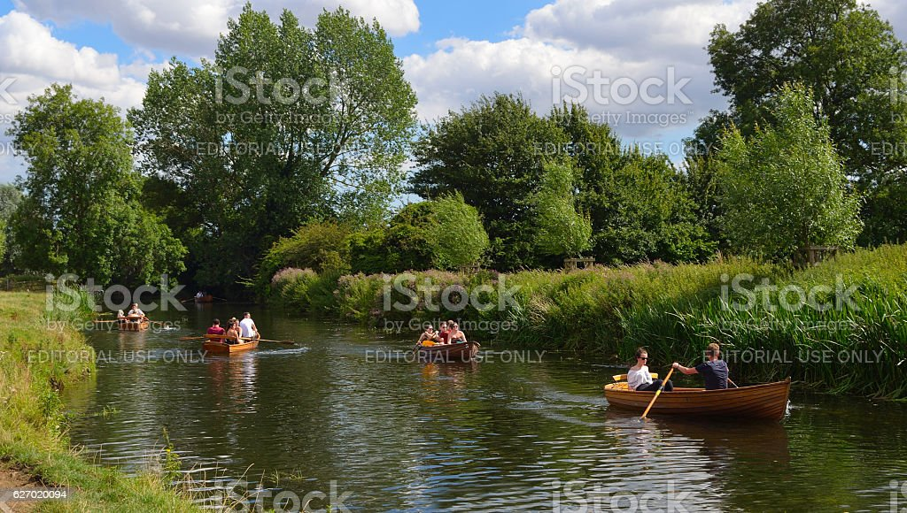 People rowing boats on the river Stour stock photo