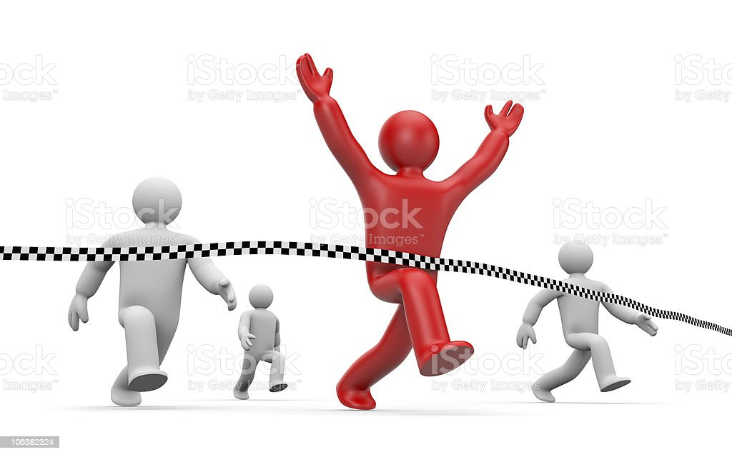 People running a race and person in red winning royalty-free stock photo