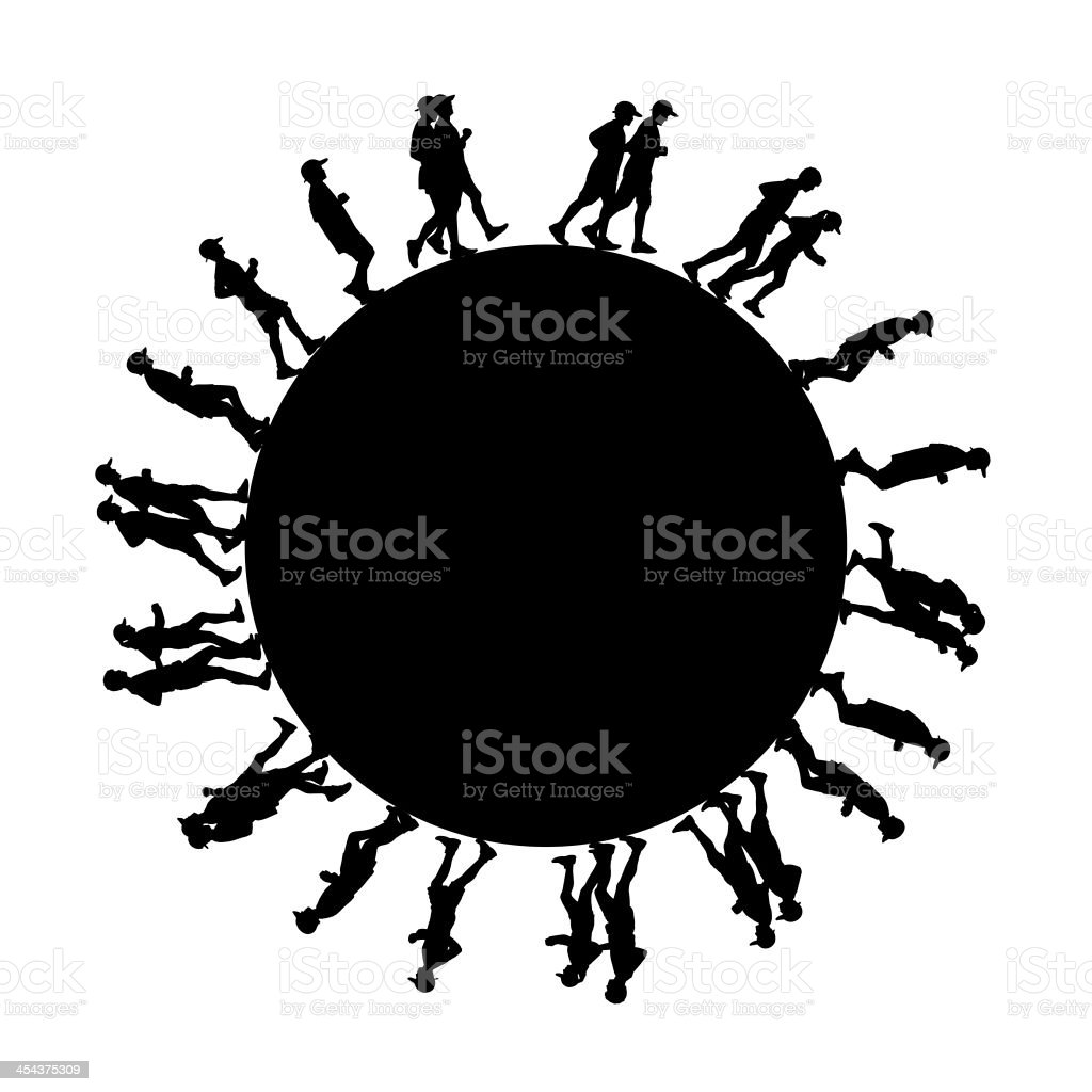 people running around the earth royalty-free stock photo