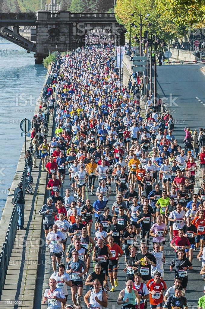 people running paris marathon france royalty-free stock photo