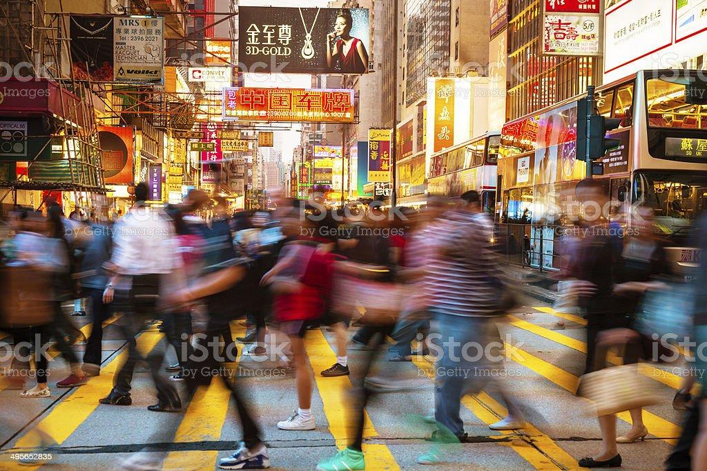 People Rushing Through Hongkong stock photo