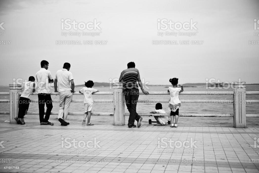 People seaing the sea. stock photo