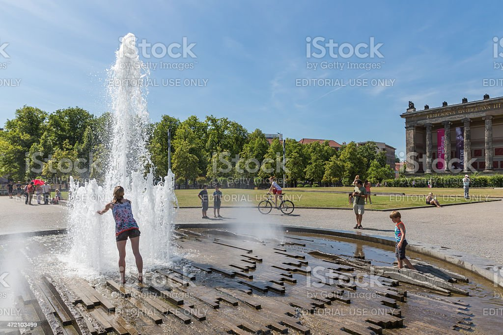 People seeking refreshment at a hot summer day stock photo