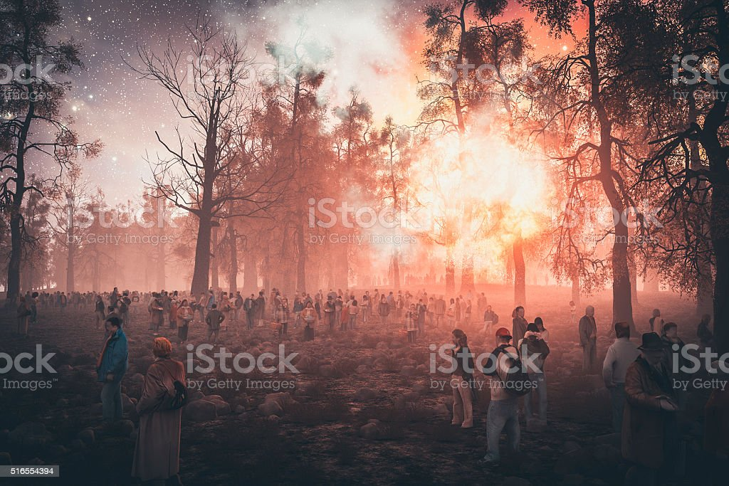 People seeking shelter in the forest, explosion, war stock photo