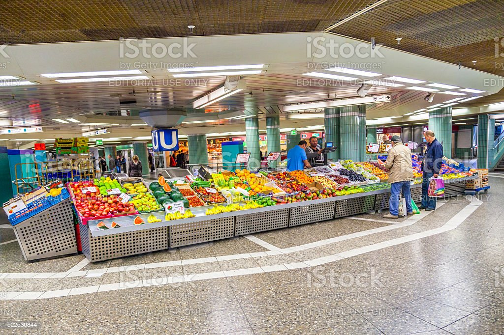 people sell fruits at the train station Hauptwache in Frankfurt stock photo
